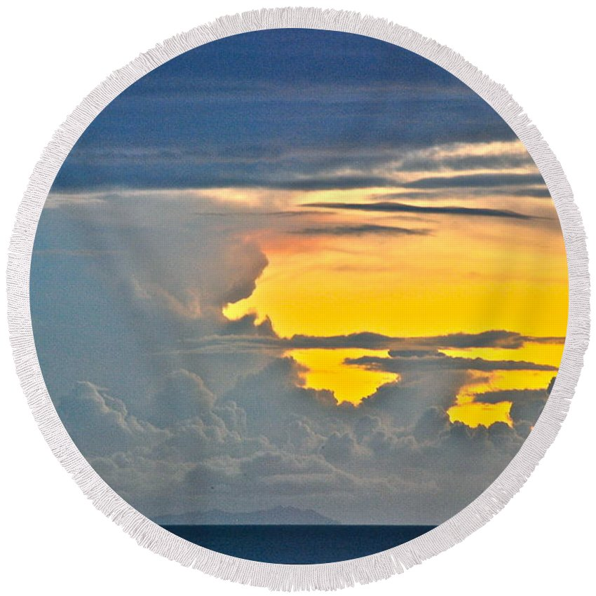 Sky Round Beach Towel featuring the photograph South Seas Yellow by Eric Tressler