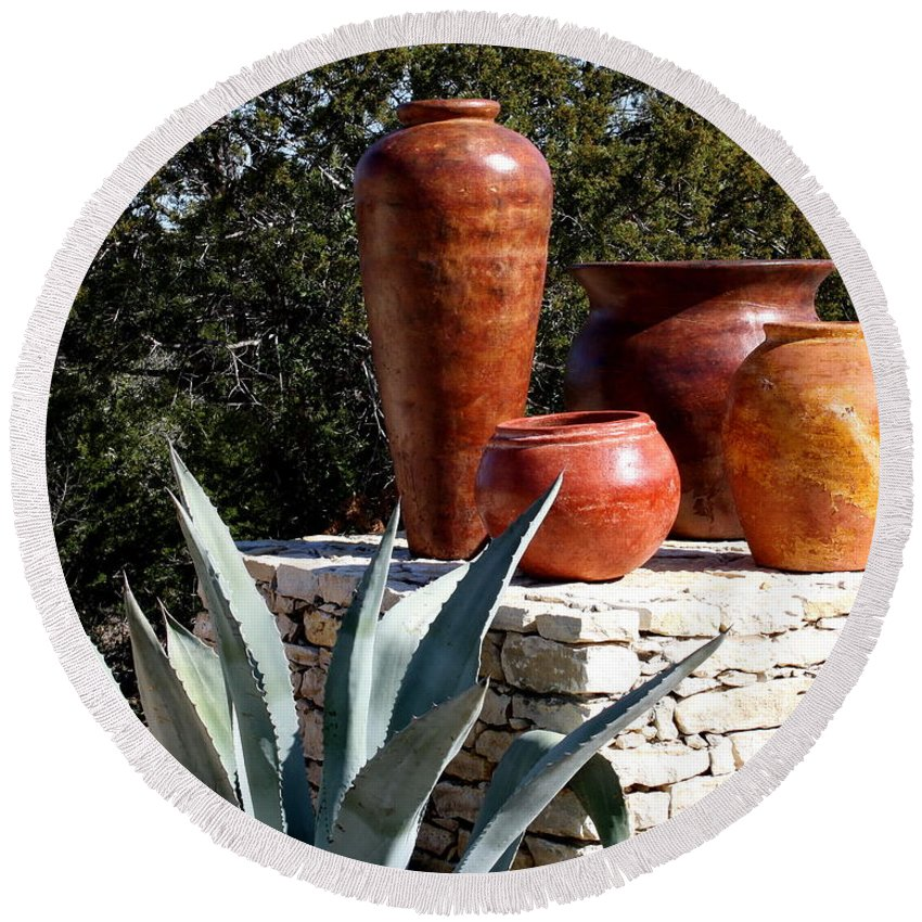 Pottery Round Beach Towel featuring the photograph South Western Pottery And Cactus by Terry Fleckney
