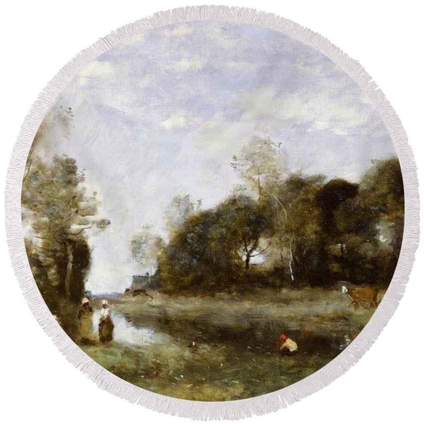 Souvenir Round Beach Towel featuring the painting Souvenir Of The Bresle At Incheville by Jean Baptiste Camille Corot