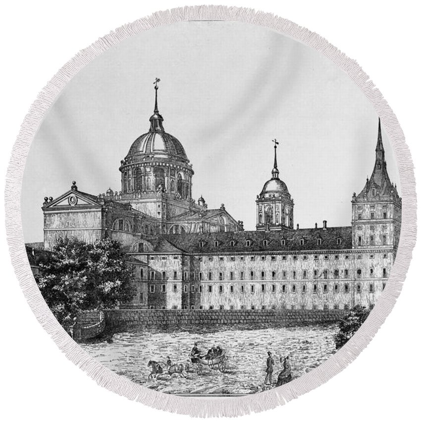 1860 Round Beach Towel featuring the photograph Spain: El Escorial, C1860 by Granger