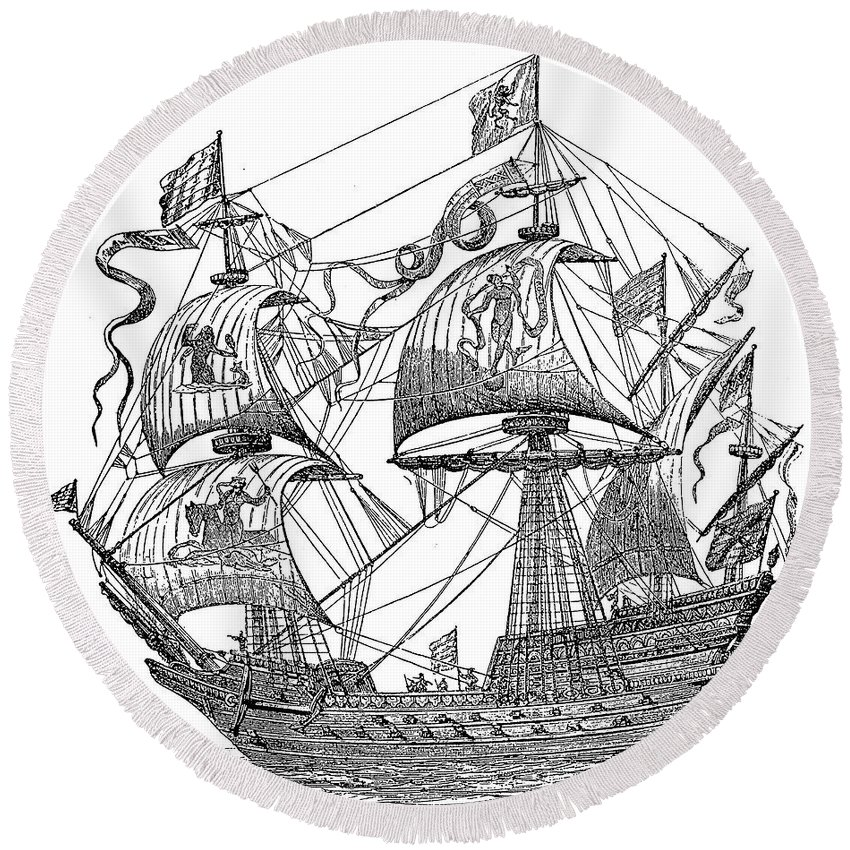 1588 Round Beach Towel featuring the photograph Spanish Galleon, 1588 by Granger