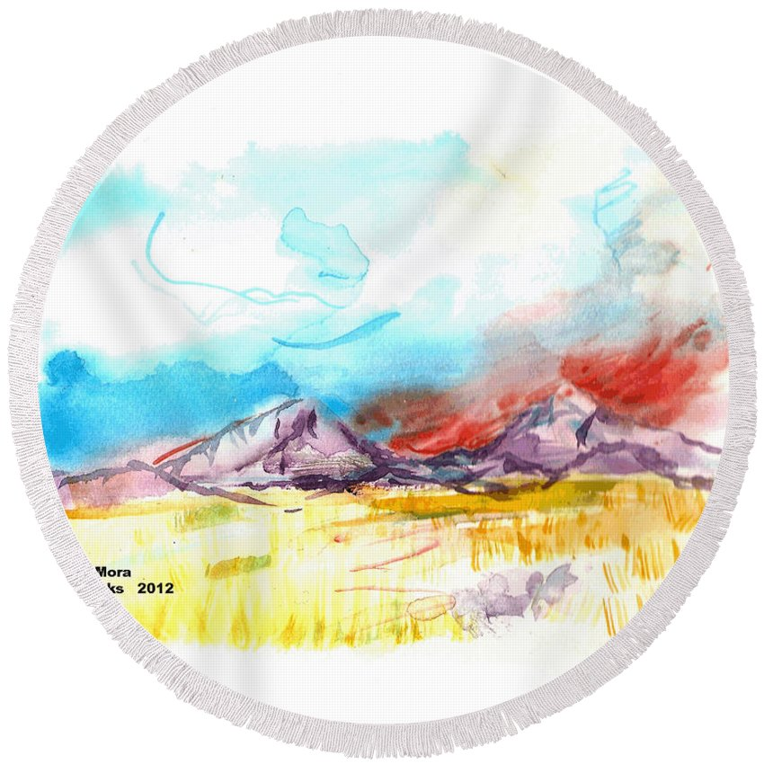 Spanish Peaks Round Beach Towel featuring the painting Spanish Peaks Study by Joseph Mora