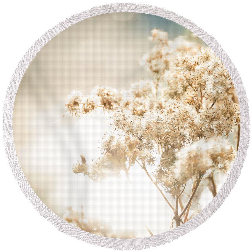 Landscape Round Beach Towel featuring the photograph Sparkly Weeds by Cheryl Baxter