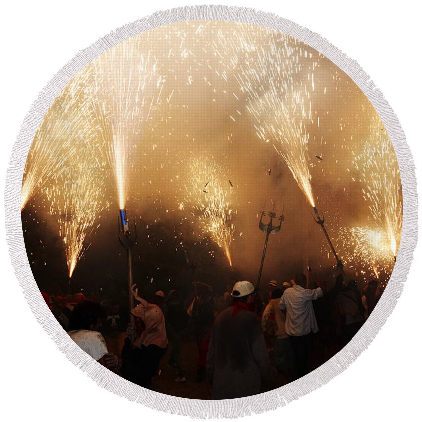 Fuego Round Beach Towel featuring the photograph Sparks Rain 2 by Agusti Pardo Rossello