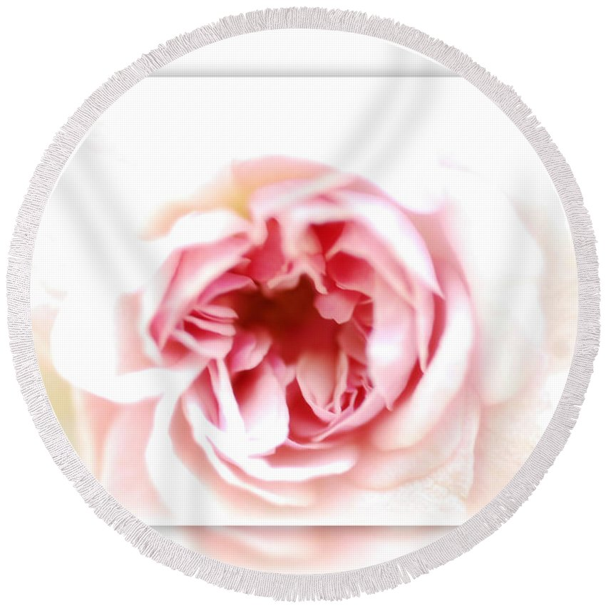 Pink Rose Round Beach Towel featuring the photograph Speak To Me Softly by Saija Lehtonen