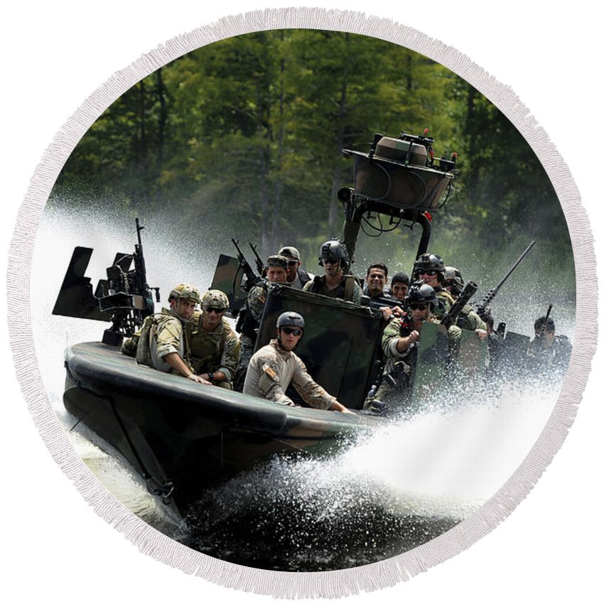 Panamax 2011 Round Beach Towel featuring the photograph Special Forces In A High-speed Combat by Stocktrek Images