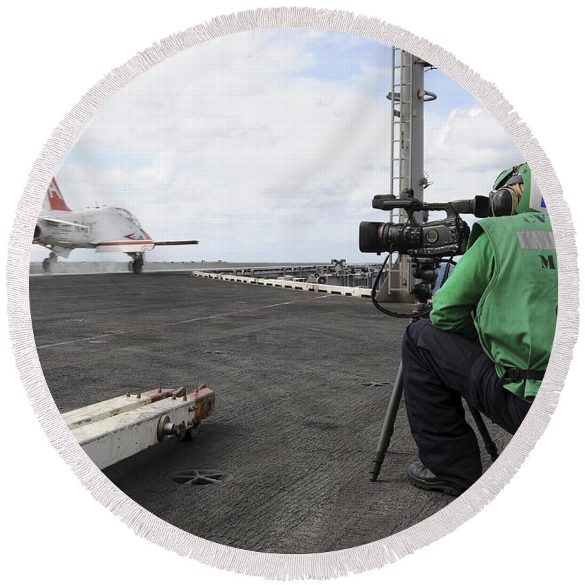 Military Round Beach Towel featuring the photograph Specialist Records Video Of Flight Deck by Stocktrek Images