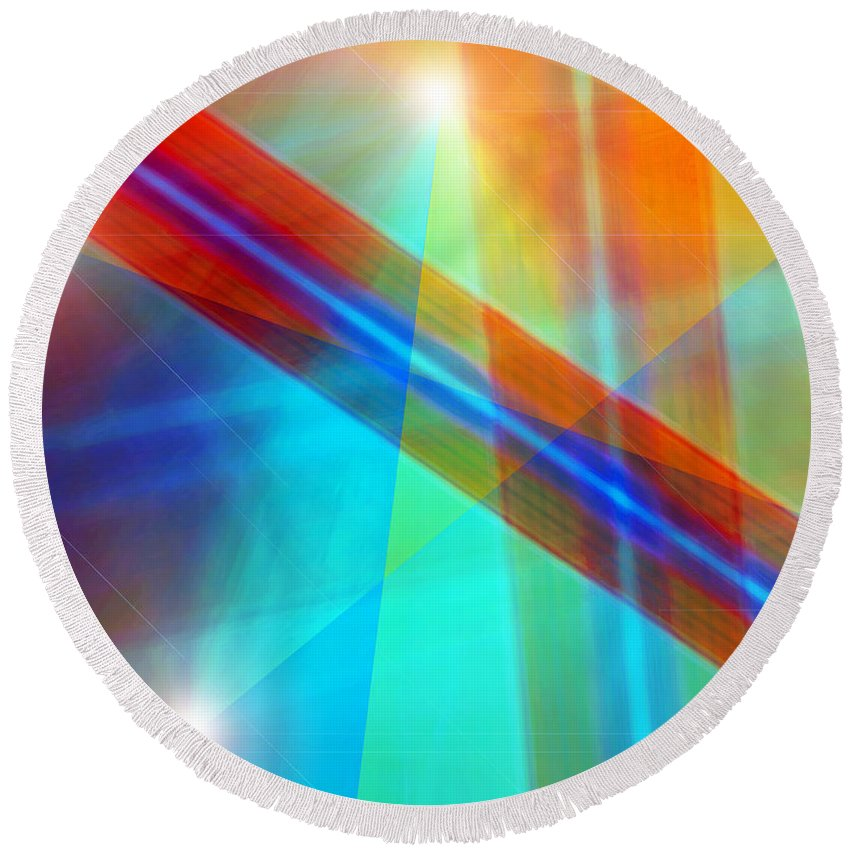 Light Canvas Prints Round Beach Towel featuring the digital art Spectrum Correction by Marie Jamieson