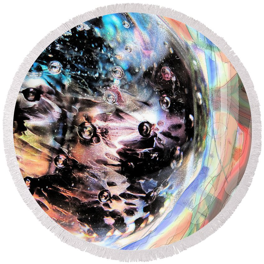 Abstract Round Beach Towel featuring the digital art Speeding There by Ian MacDonald