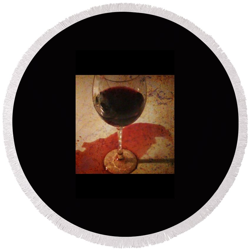 Wine Round Beach Towel featuring the photograph Spilled Wine by Dolly Sanchez