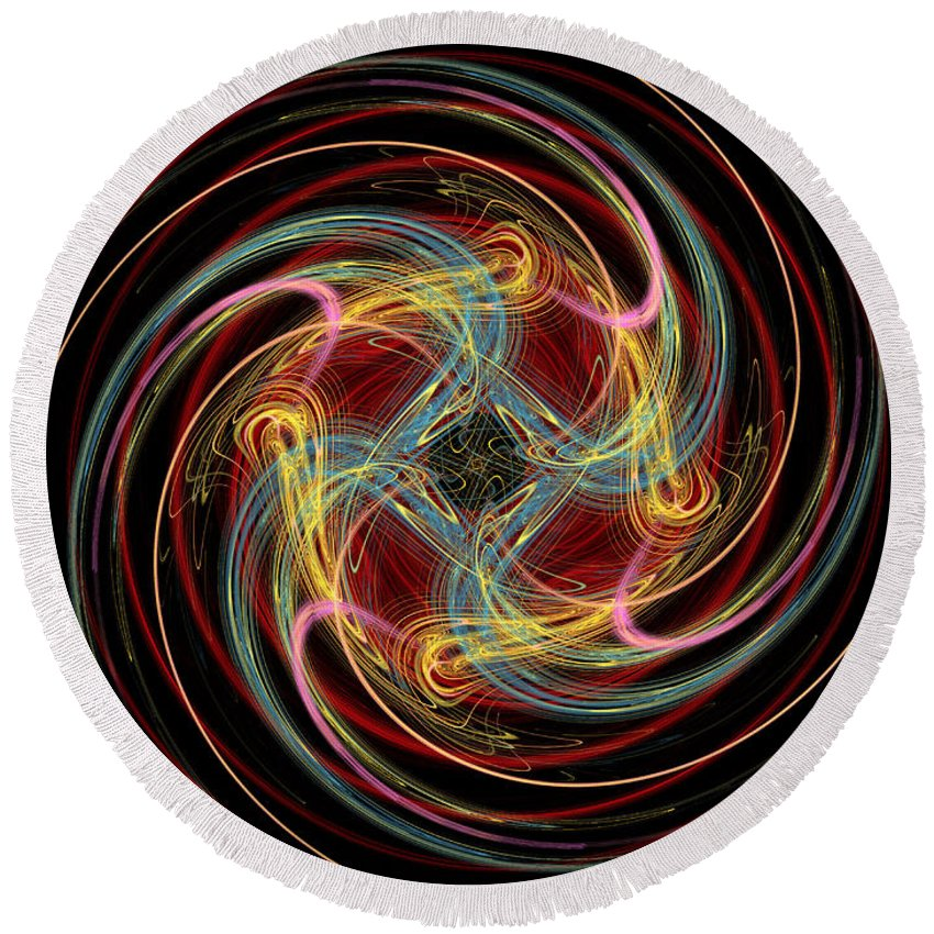 Fractal Round Beach Towel featuring the digital art Spin Fractal by Betsy Knapp