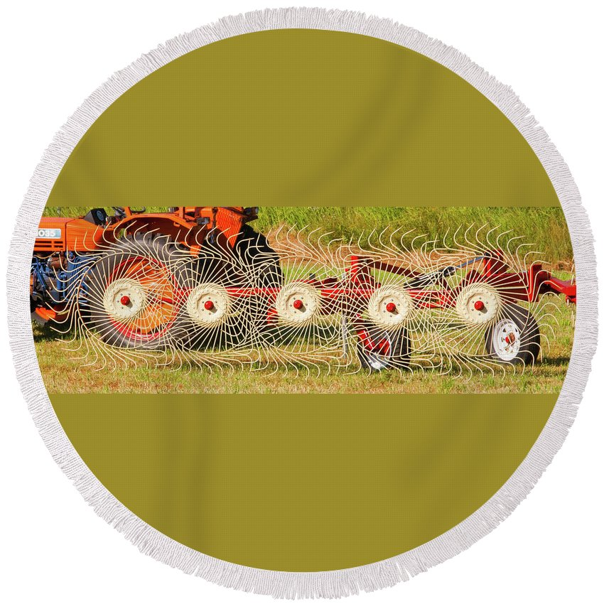 Barn Round Beach Towel featuring the photograph Spindizzy1233 by Guy Whiteley