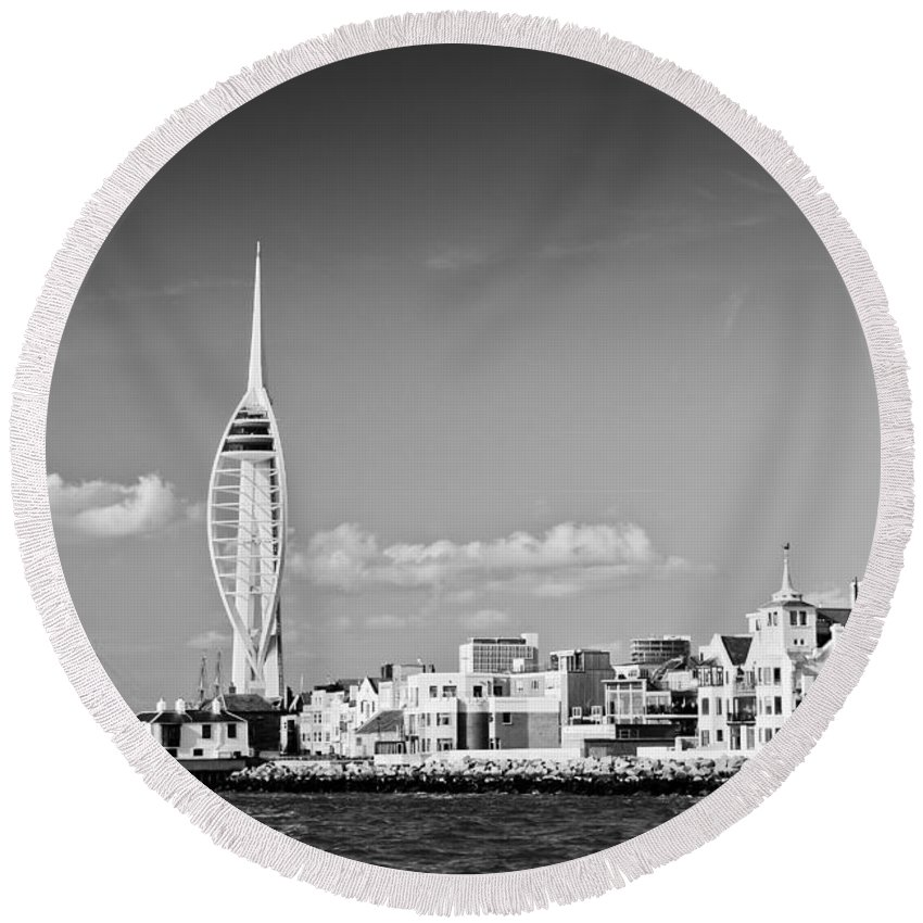 Portsmouth Round Beach Towel featuring the photograph Spinnaker Tower And Round Tower Portsmouth Bw by Gary Eason