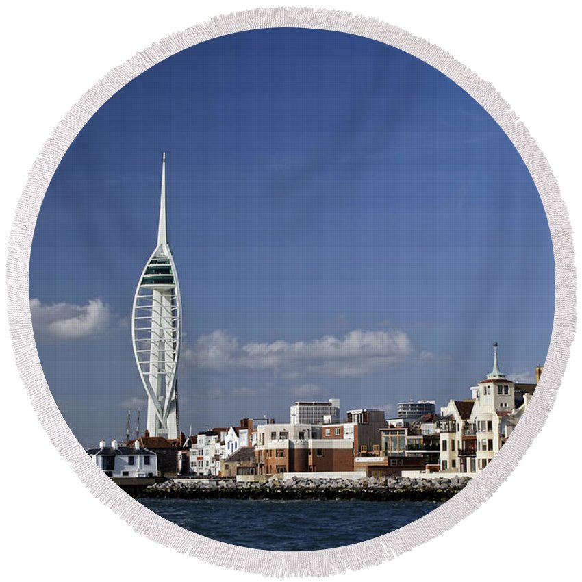 Portsmouth Round Beach Towel featuring the photograph Spinnaker Tower And Round Tower Portsmouth by Gary Eason