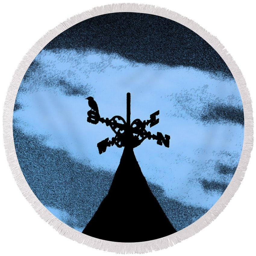 Wind Vane Round Beach Towel featuring the photograph Spooky Silhouette by Al Powell Photography USA