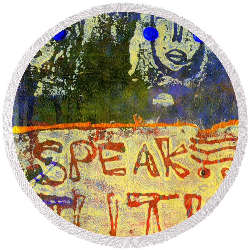 Woman Round Beach Towel featuring the mixed media Spread Truth Angels by Angela L Walker