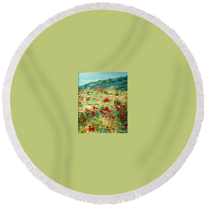 Floral Round Beach Towel featuring the painting spring near the Dead See by Shuly Haimsohn Weiner