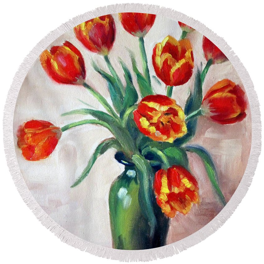 Tulips Round Beach Towel featuring the painting Spring Tulips by Karin Leonard