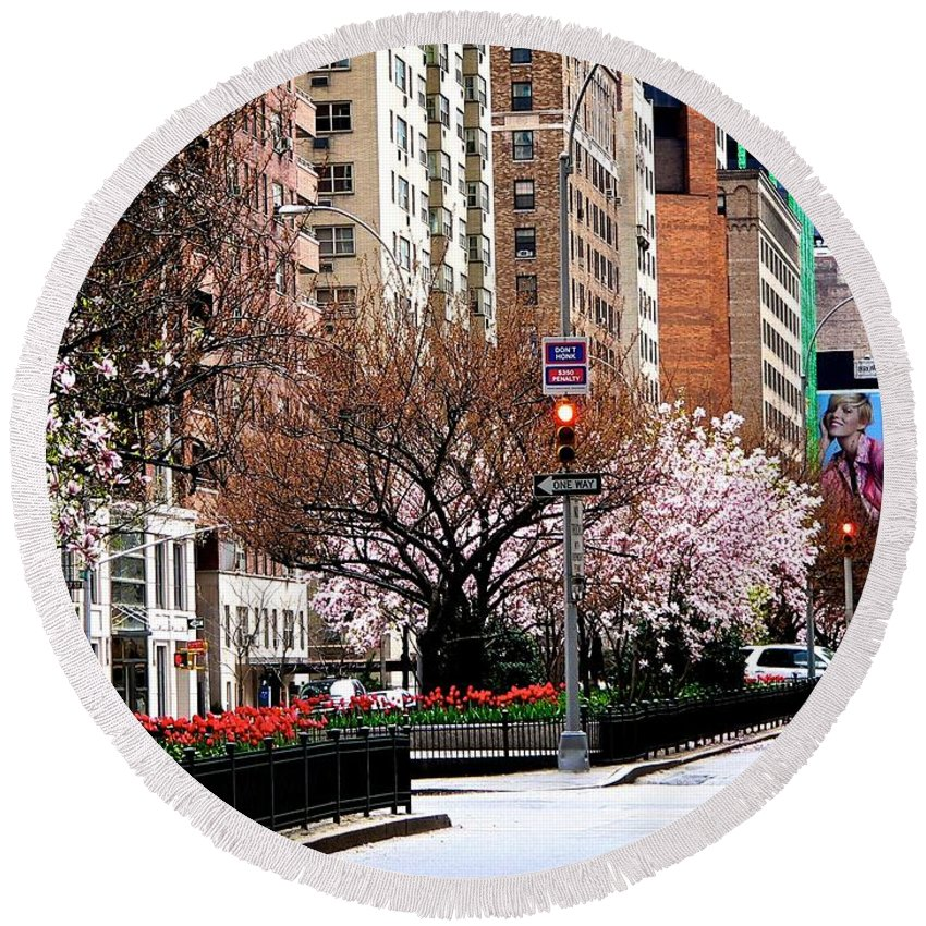 New York City Round Beach Towel featuring the photograph Springtime On Park Avenue by Eric Tressler
