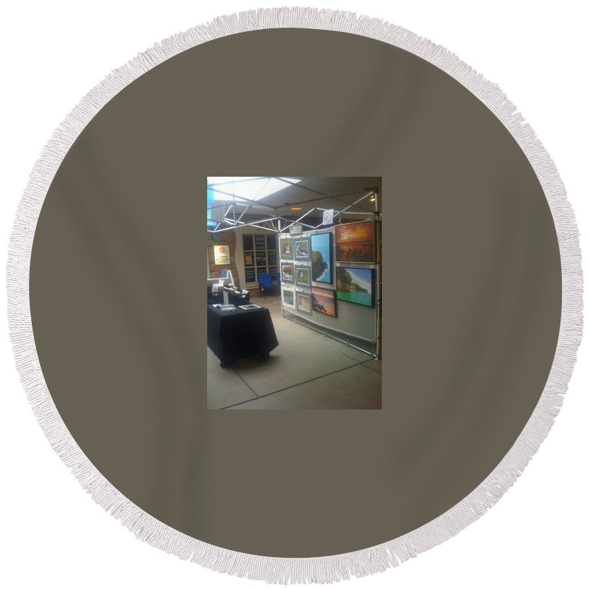 Round Beach Towel featuring the photograph St Clair Side 2 by Michael Peychich