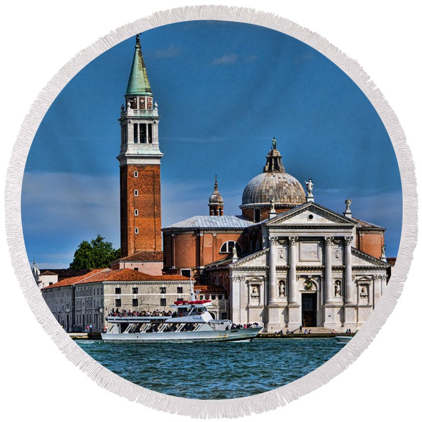 Grand Canal Round Beach Towel featuring the photograph St George's by Jon Berghoff