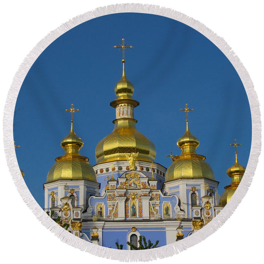 Kiev Round Beach Towel featuring the photograph St. Michael's Cathedral by David Gleeson