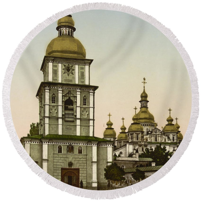 Kiev Round Beach Towel featuring the photograph St Michaels Monastery In Kiev - Ukraine by International Images