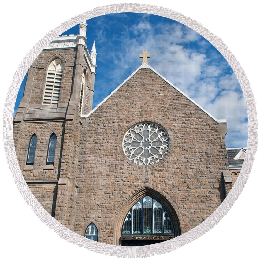 Church Round Beach Towel featuring the photograph St. Patrick Church by Tikvah's Hope
