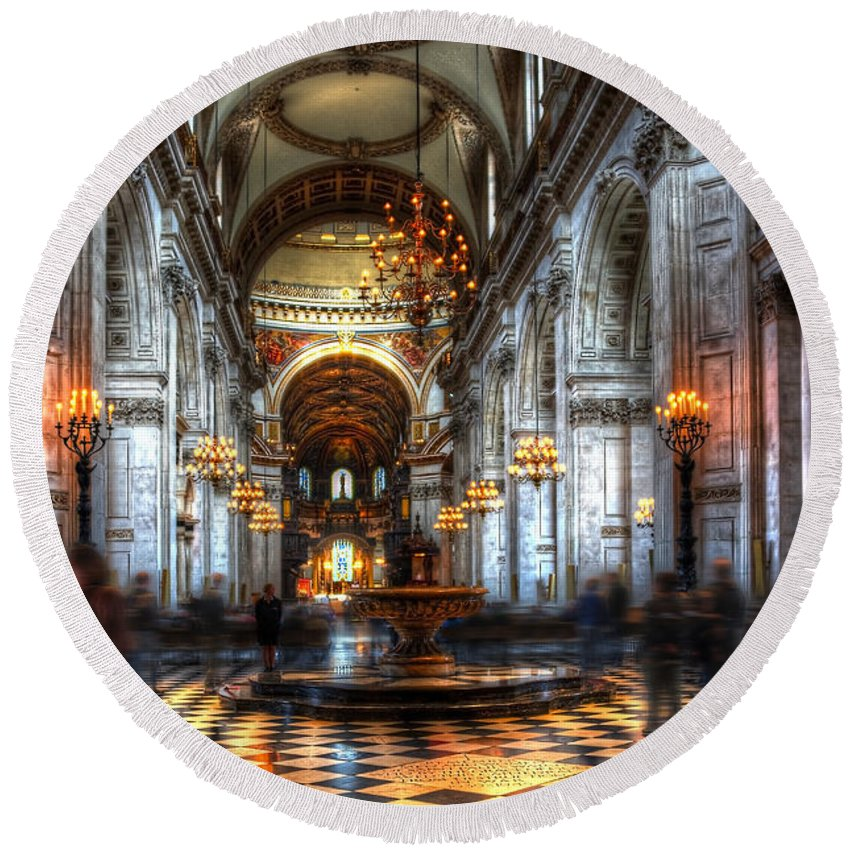 Architecture Round Beach Towel featuring the photograph St Paul Cathedral Interior by Svetlana Sewell