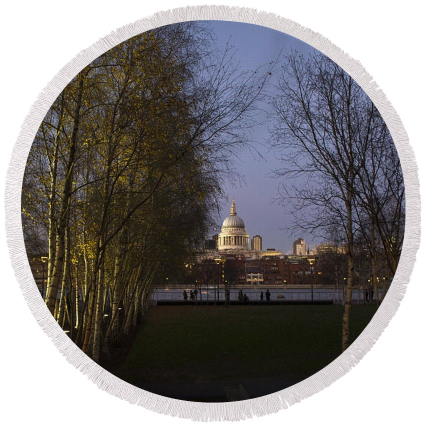 London Round Beach Towel featuring the photograph St Paul's With Silver Birches by Gary Eason