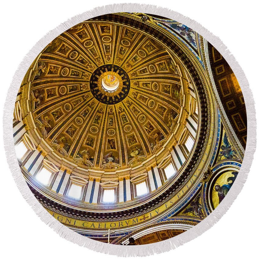 St Peters Round Beach Towel featuring the photograph St Peter's Basilica Dome by Jon Berghoff