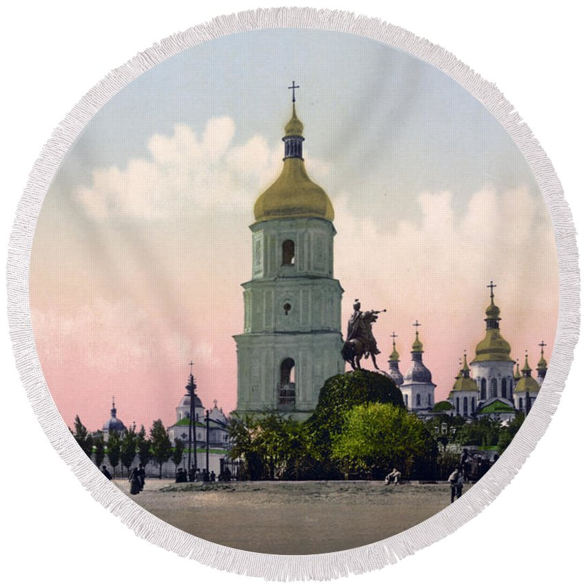 st. Sophia Cathedral Round Beach Towel featuring the photograph St Sophia Cathedral In Kiev - Ukraine - Ca 1900 by International Images