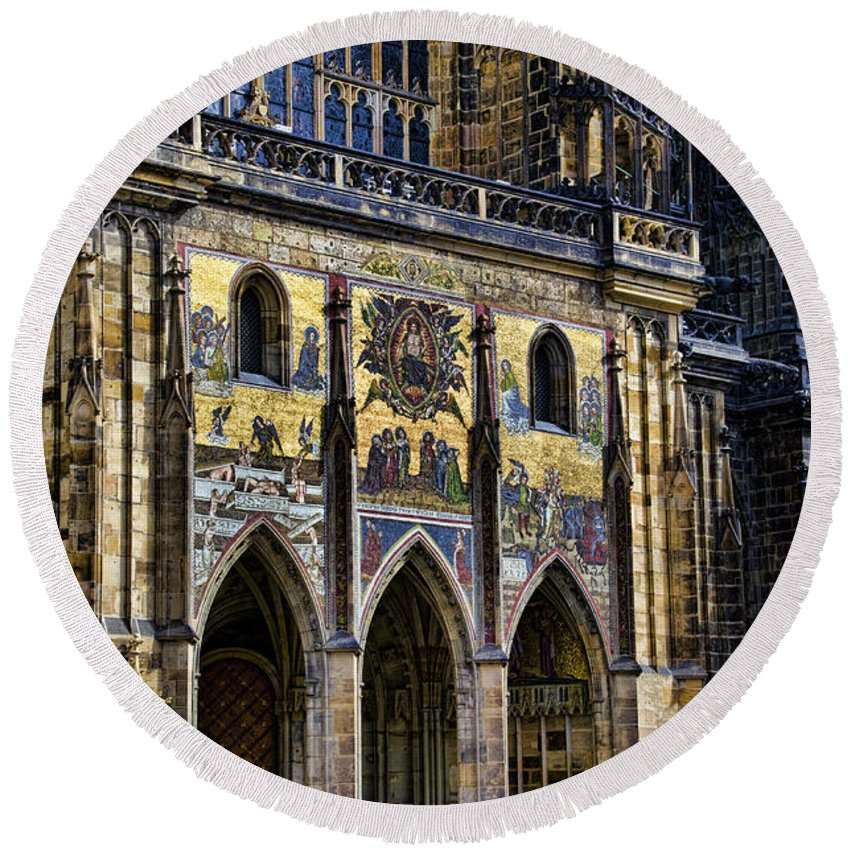 St Vitus Cathedral Round Beach Towel featuring the photograph St Vitus Cathedral Entrance by Jon Berghoff