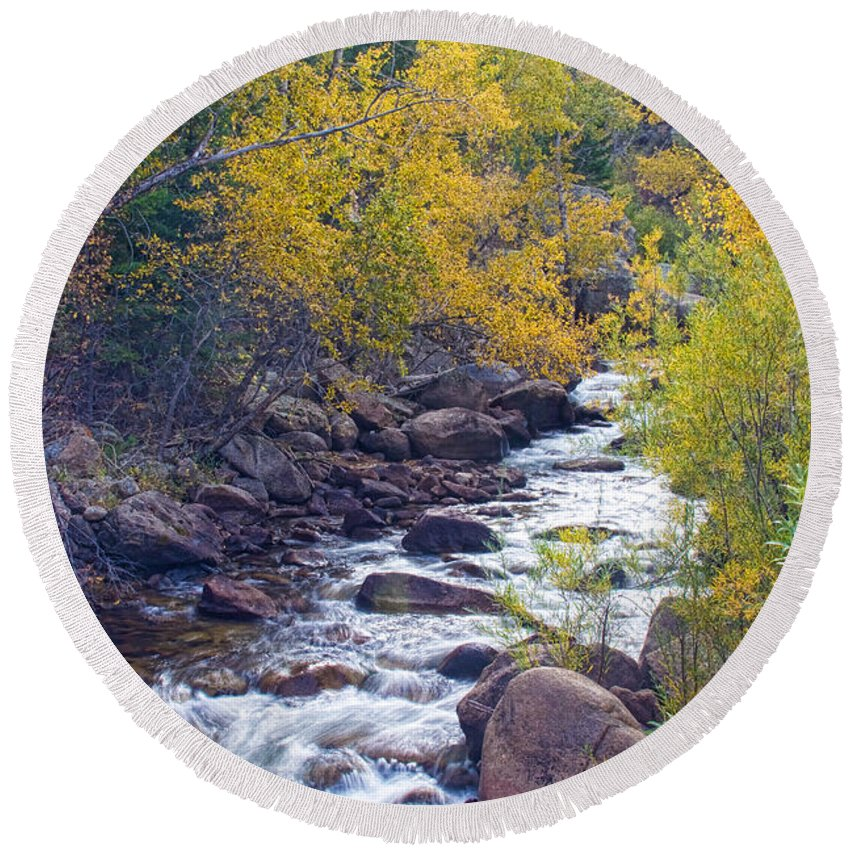 Autumn Round Beach Towel featuring the photograph St Vrain Canyon And River Autumn Season Boulder County Colorado by James BO Insogna