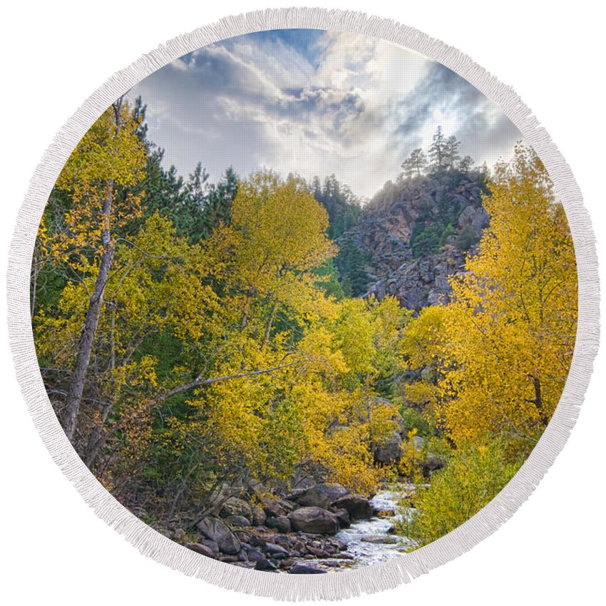 Autumn; Stream; River; Creek; Colorado; 'colorado Nature'; 'colorado Lanscapes'; 'st Vrain'; 'boulder County'; Boulder; Lyons; Longmont; 'james Bo Insogna'; 'for Sale'; Round Beach Towel featuring the photograph St Vrain Canyon Autumn Colorado View by James BO Insogna