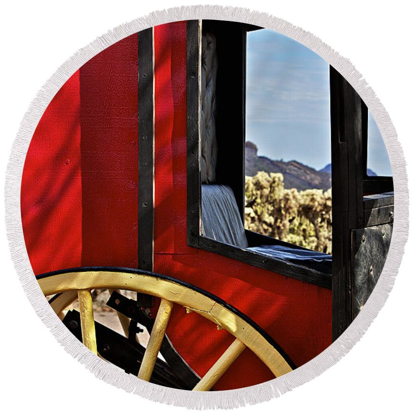 Stagecoach Round Beach Towel featuring the photograph Stagecoach View by Phyllis Denton
