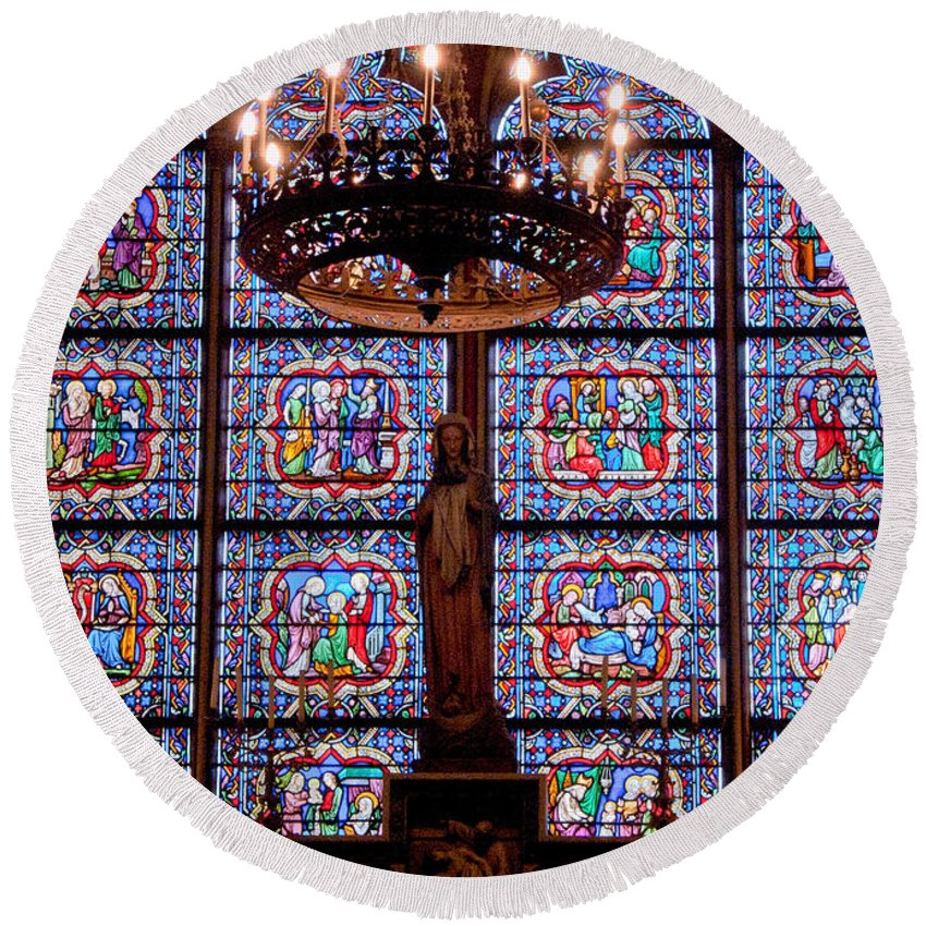 France Round Beach Towel featuring the photograph Stained Glass At Notre Dame Cathedral by Jon Berghoff
