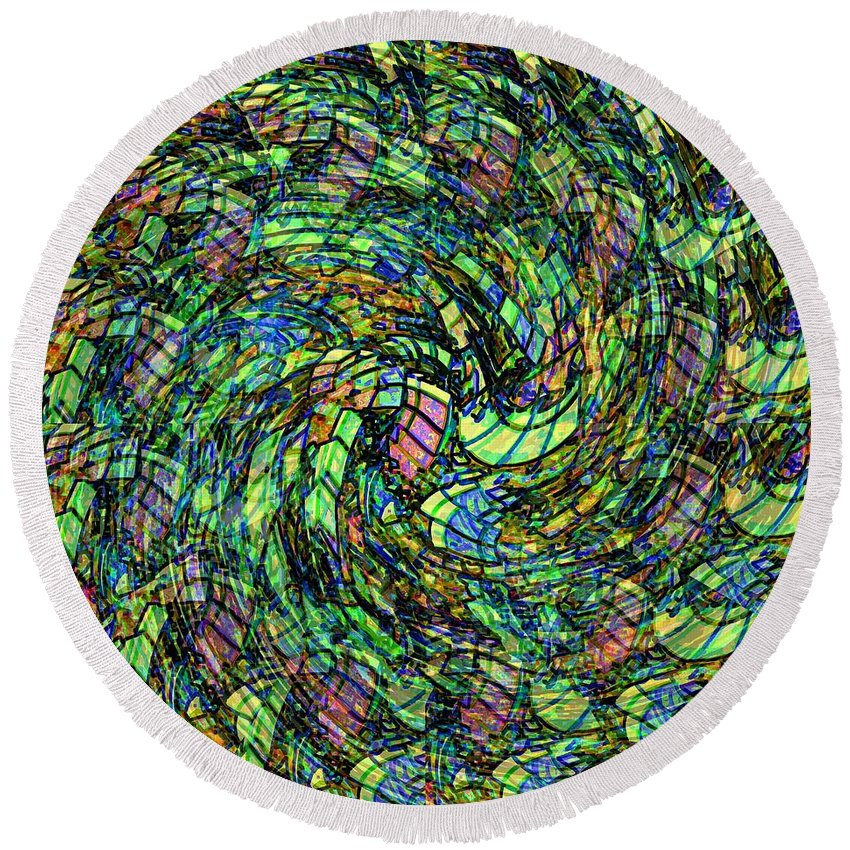 Abstract Round Beach Towel featuring the digital art Stained Glass In Abstract by Leslie Revels