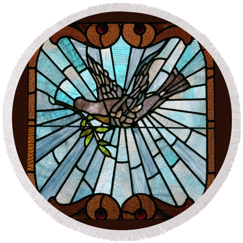 Glass Art Round Beach Towel featuring the photograph Stained Glass Lc 14 by Thomas Woolworth