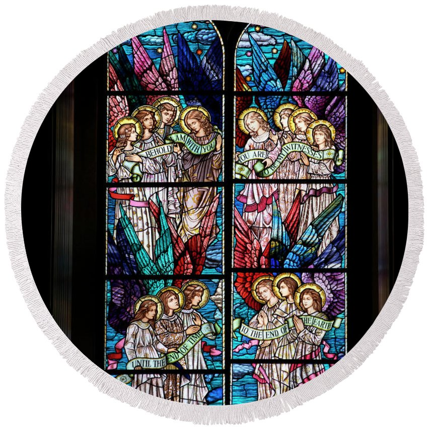 Glass Art Round Beach Towel featuring the digital art Stained Glass Pc 05 by Thomas Woolworth