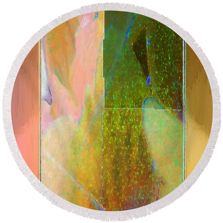 Abstract Round Beach Towel featuring the painting Stained Glass Shower by RC DeWinter