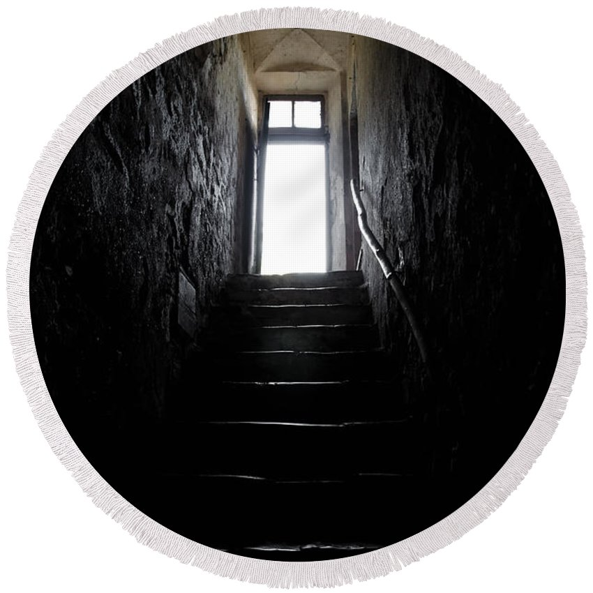 Stairs Round Beach Towel featuring the photograph Stairs To The Light by Mats Silvan