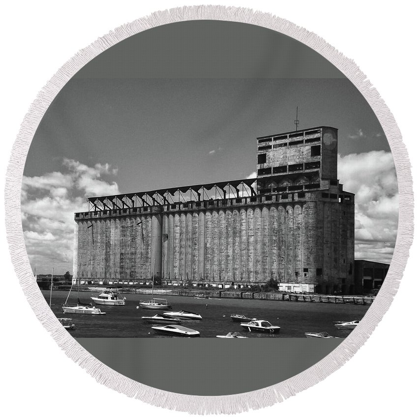 Architecture Round Beach Towel featuring the photograph Standard Elevator 5097 by Guy Whiteley