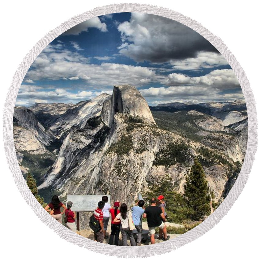 Half Dome Round Beach Towel featuring the photograph Standing In Awe by Adam Jewell