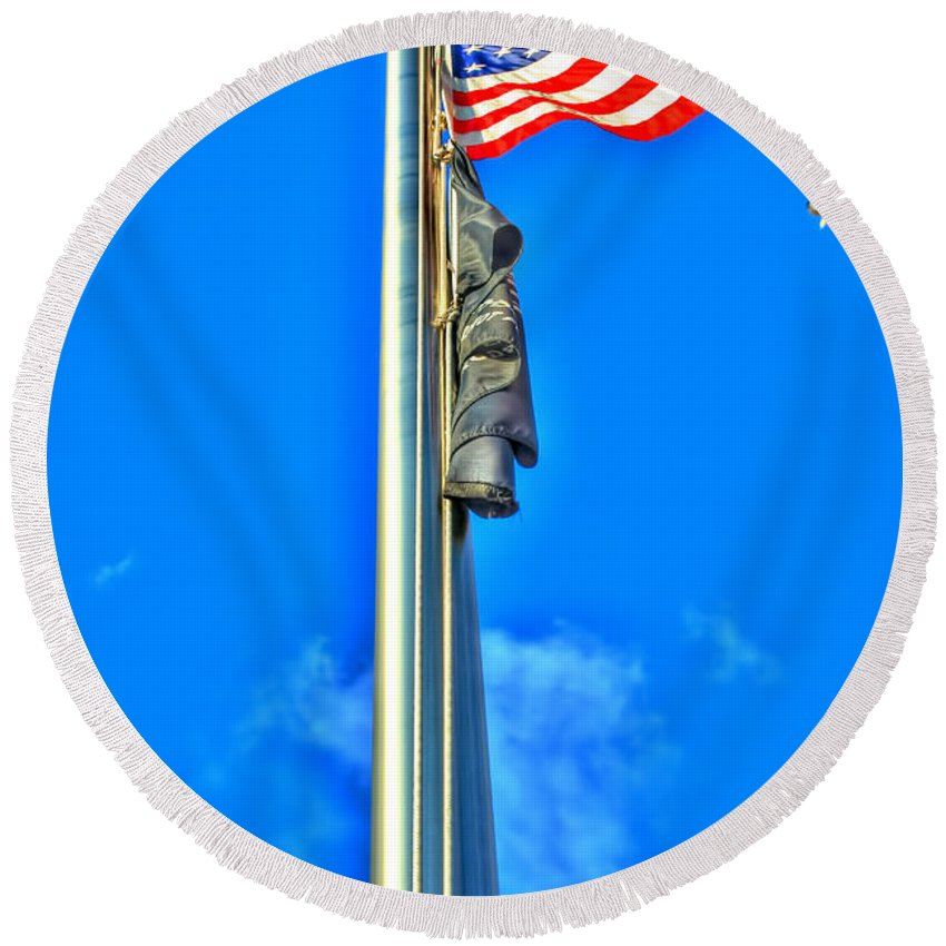 Round Beach Towel featuring the photograph Standing Proud Soaring High by Michael Frank Jr