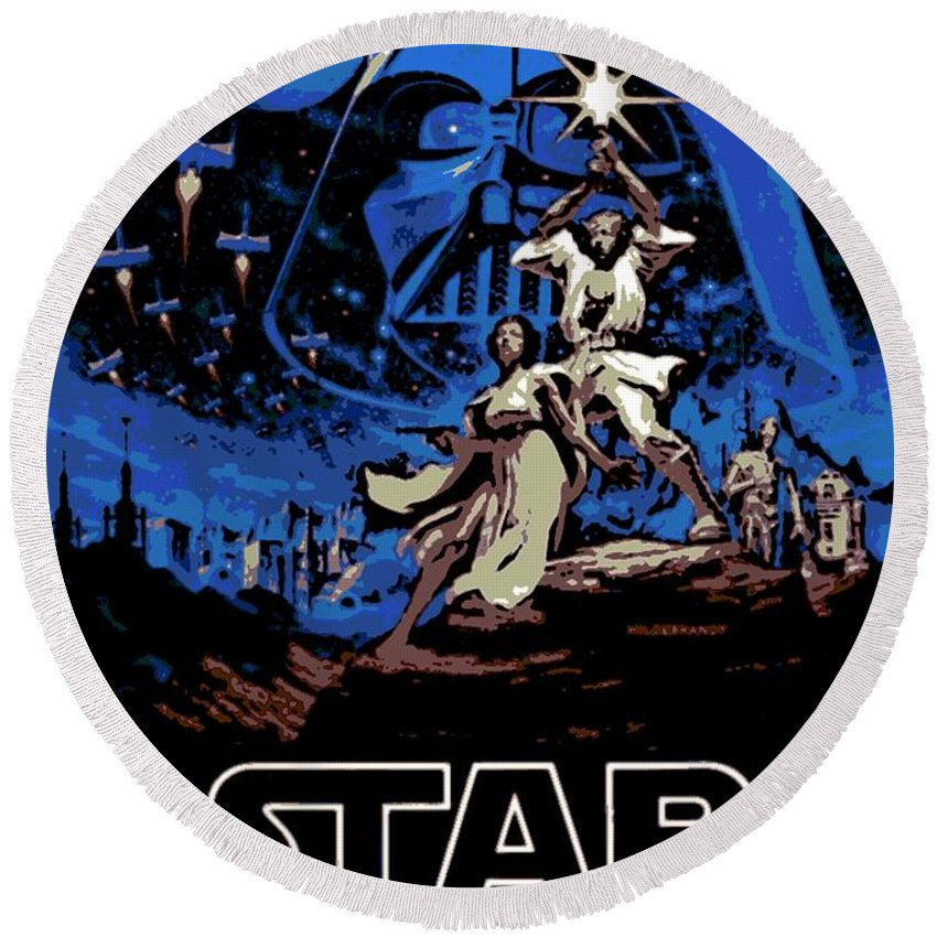 Star Wars Poster Round Beach Towel featuring the photograph Star Wars Poster by George Pedro