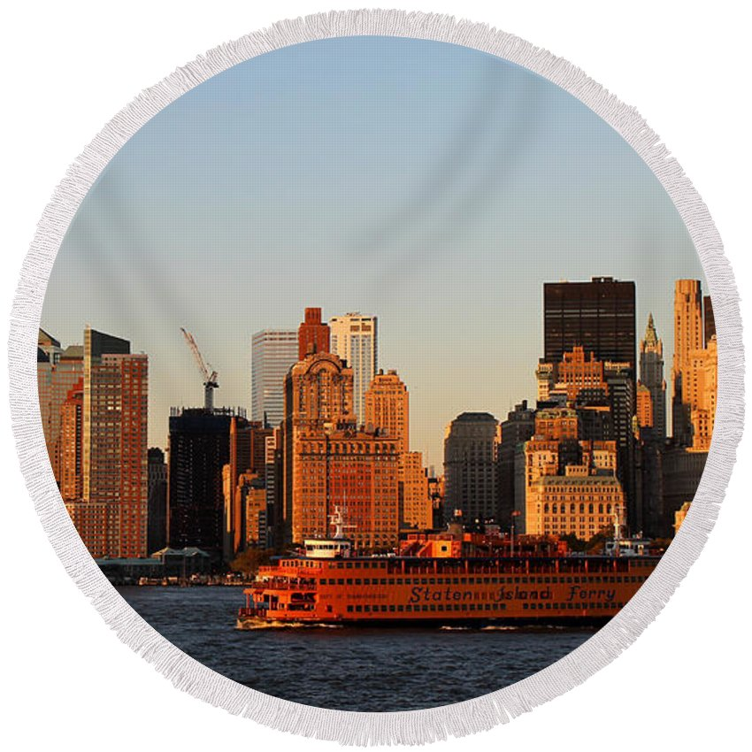 New York Round Beach Towel featuring the photograph Staten Island Ferry 3 by Andrew Fare