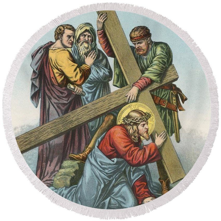 Catholic; Bible; Religion; Truth; Station Vii; Jesus Falls; Cross; Time Round Beach Towel featuring the painting Station Vii Jesus Falls Under The Cross The Second Time by English School