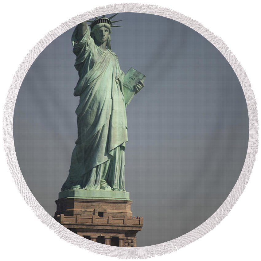 Liberty Island Round Beach Towel featuring the photograph Statue Of Liberty, New York, Usa by Stocktrek Images