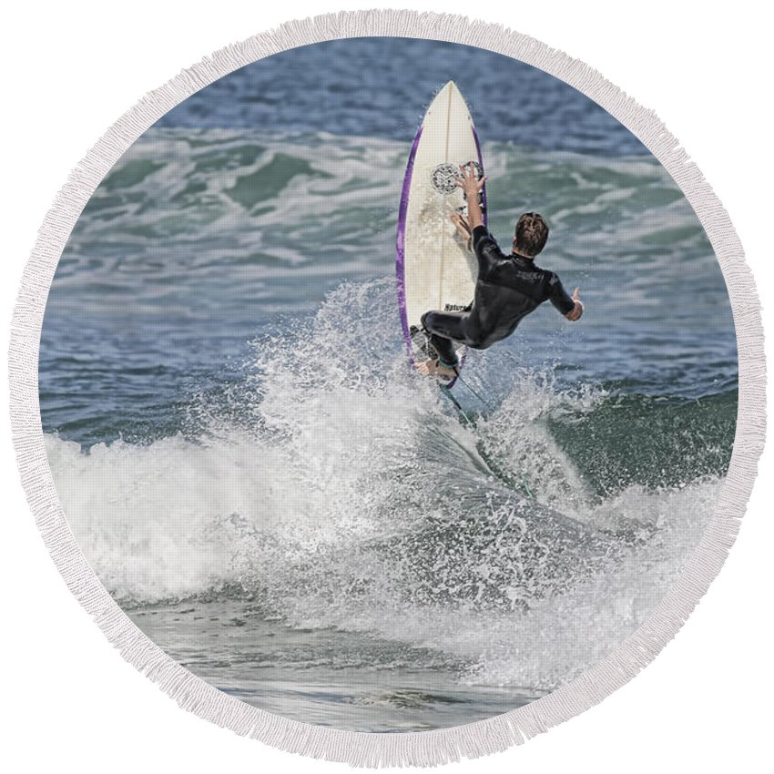 Surfer Round Beach Towel featuring the photograph Staying On The Board by Deborah Benoit